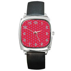 Flower Of Life Pattern Red Purle Square Metal Watch by Cveti