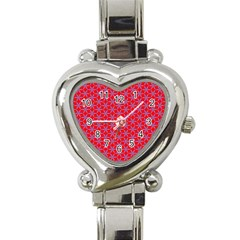 Flower Of Life Pattern Red Purle Heart Italian Charm Watch by Cveti