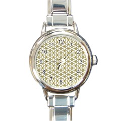 Flower Of Life Pattern Cold White Round Italian Charm Watch by Cveti