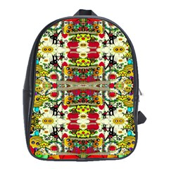 Chicken Monkeys Smile In The Floral Nature Looking Hot School Bag (large) by pepitasart