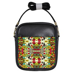 Chicken Monkeys Smile In The Floral Nature Looking Hot Girls Sling Bags by pepitasart