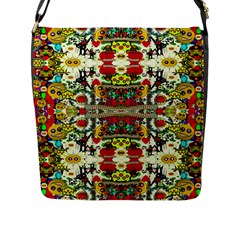 Chicken Monkeys Smile In The Floral Nature Looking Hot Flap Messenger Bag (l)  by pepitasart