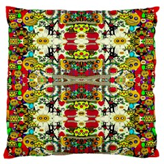 Chicken Monkeys Smile In The Floral Nature Looking Hot Large Flano Cushion Case (one Side) by pepitasart
