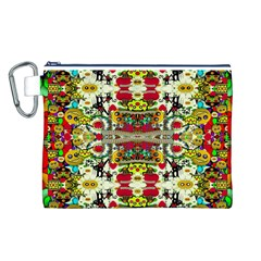 Chicken Monkeys Smile In The Floral Nature Looking Hot Canvas Cosmetic Bag (l) by pepitasart