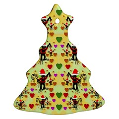 Santa With Friends And Season Love Christmas Tree Ornament (two Sides) by pepitasart