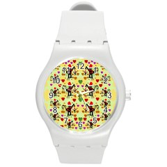 Santa With Friends And Season Love Round Plastic Sport Watch (m) by pepitasart