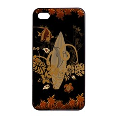 Hawaiian, Tropical Design With Surfboard Apple Iphone 4/4s Seamless Case (black) by FantasyWorld7