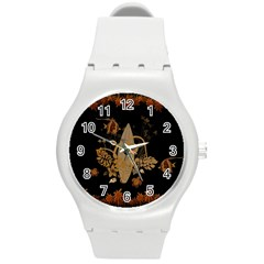 Hawaiian, Tropical Design With Surfboard Round Plastic Sport Watch (m) by FantasyWorld7