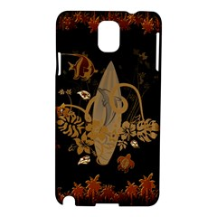 Hawaiian, Tropical Design With Surfboard Samsung Galaxy Note 3 N9005 Hardshell Case by FantasyWorld7