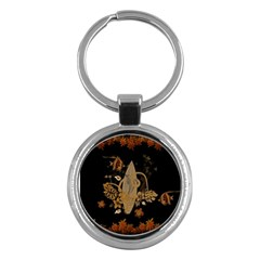 Hawaiian, Tropical Design With Surfboard Key Chains (round)  by FantasyWorld7