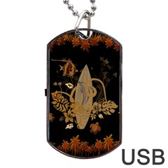 Hawaiian, Tropical Design With Surfboard Dog Tag Usb Flash (two Sides) by FantasyWorld7