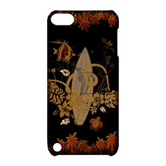 Hawaiian, Tropical Design With Surfboard Apple Ipod Touch 5 Hardshell Case With Stand by FantasyWorld7