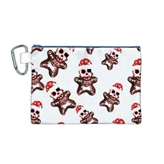 Gingerbread Skeleton Canvas Cosmetic Bag (m) by Roxzanoart