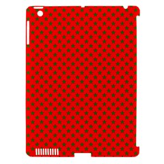 Green Christmas Stars On Festive Red Apple Ipad 3/4 Hardshell Case (compatible With Smart Cover) by Beachlux