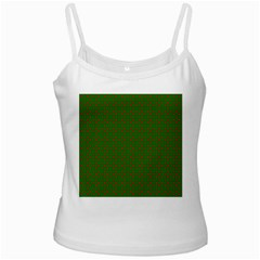 Red Stars On Christmas Green Background Ladies Camisoles by PodArtist