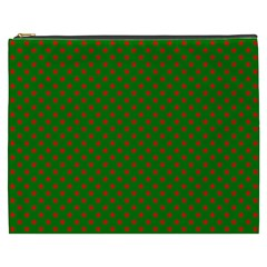Red Stars On Christmas Green Background Cosmetic Bag (xxxl)  by PodArtist