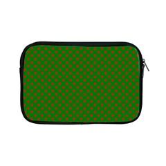 Red Stars On Christmas Green Background Apple Ipad Mini Zipper Cases by PodArtist