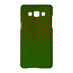 Red Stars On Christmas Green Background Samsung Galaxy A5 Hardshell Case  by PodArtist