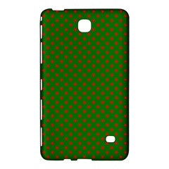Red Stars On Christmas Green Background Samsung Galaxy Tab 4 (8 ) Hardshell Case  by PodArtist
