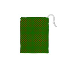 Red Stars On Christmas Green Background Drawstring Pouches (xs)  by PodArtist