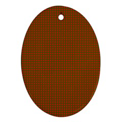 Classic Christmas Red And Green Houndstooth Check Pattern Ornament (oval) by PodArtist