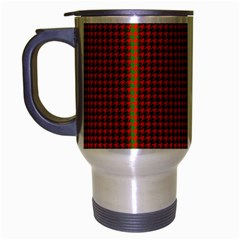 Classic Christmas Red And Green Houndstooth Check Pattern Travel Mug (silver Gray) by PodArtist
