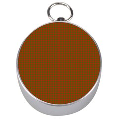 Classic Christmas Red And Green Houndstooth Check Pattern Silver Compasses by PodArtist