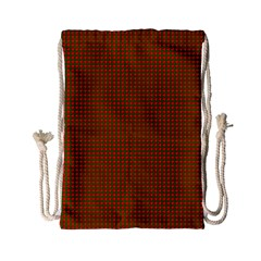 Classic Christmas Red And Green Houndstooth Check Pattern Drawstring Bag (small) by PodArtist