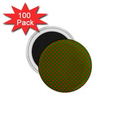 Large Red Christmas Hearts On Green 1 75  Magnets (100 Pack)  by PodArtist