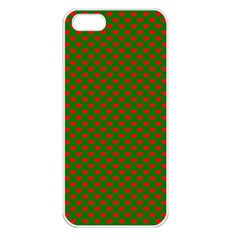 Large Red Christmas Hearts On Green Apple Iphone 5 Seamless Case (white) by PodArtist