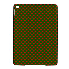 Large Red Christmas Hearts On Green Ipad Air 2 Hardshell Cases by PodArtist