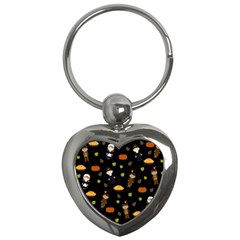 Pilgrims And Indians Pattern   Thanksgiving Key Chains (heart)  by Valentinaart