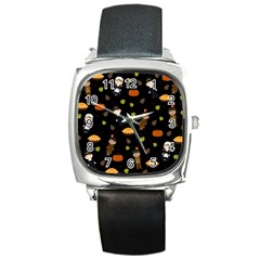 Pilgrims And Indians Pattern   Thanksgiving Square Metal Watch by Valentinaart