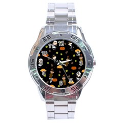 Pilgrims And Indians Pattern   Thanksgiving Stainless Steel Analogue Watch by Valentinaart