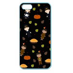 Pilgrims And Indians Pattern   Thanksgiving Apple Seamless Iphone 5 Case (color) by Valentinaart