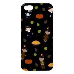 Pilgrims And Indians Pattern   Thanksgiving Apple Iphone 5 Premium Hardshell Case by Valentinaart