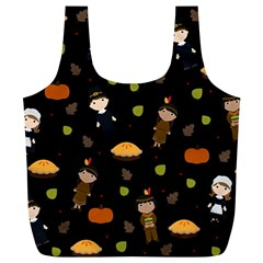 Pilgrims And Indians Pattern   Thanksgiving Full Print Recycle Bags (l)  by Valentinaart