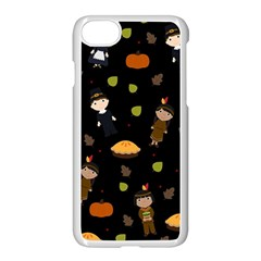 Pilgrims And Indians Pattern   Thanksgiving Apple Iphone 8 Seamless Case (white) by Valentinaart