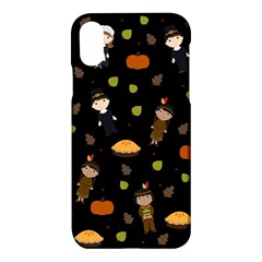 Pilgrims And Indians Pattern   Thanksgiving Apple Iphone X Hardshell Case by Valentinaart