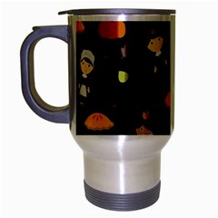 Pilgrims And Indians Pattern   Thanksgiving Travel Mug (silver Gray) by Valentinaart