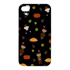 Pilgrims And Indians Pattern   Thanksgiving Apple Iphone 4/4s Hardshell Case by Valentinaart