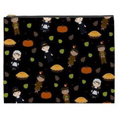 Pilgrims And Indians Pattern   Thanksgiving Cosmetic Bag (xxxl)  by Valentinaart