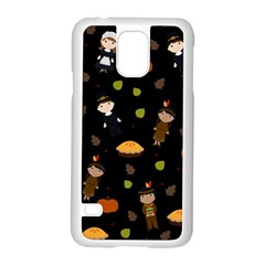 Pilgrims And Indians Pattern   Thanksgiving Samsung Galaxy S5 Case (white) by Valentinaart