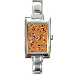 Pilgrims And Indians Pattern   Thanksgiving Rectangle Italian Charm Watch by Valentinaart