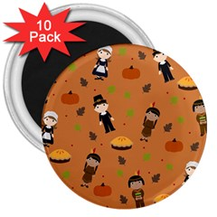 Pilgrims And Indians Pattern   Thanksgiving 3  Magnets (10 Pack)  by Valentinaart