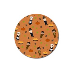 Pilgrims And Indians Pattern   Thanksgiving Magnet 3  (round) by Valentinaart
