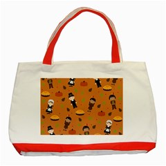 Pilgrims And Indians Pattern   Thanksgiving Classic Tote Bag (red)