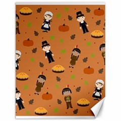 Pilgrims And Indians Pattern   Thanksgiving Canvas 12  X 16   by Valentinaart