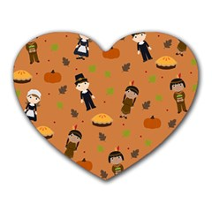 Pilgrims And Indians Pattern   Thanksgiving Heart Mousepads by Valentinaart