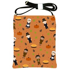 Pilgrims And Indians Pattern   Thanksgiving Shoulder Sling Bags by Valentinaart